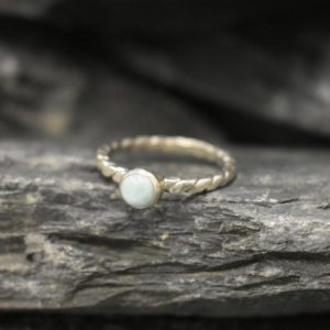 Shop Larimar Rings! Larimar Ring, Natural Larimar, Sky Blue Ring, Dainty Blue Ring, Solitaire Ring, Stackable Ring, Intertwined Rope Band, Solid Silver Ring | Natural genuine Larimar rings, simple unique handcrafted gemstone rings. #rings #jewelry #shopping #gift #handmade #fashion #style #affiliate #ad