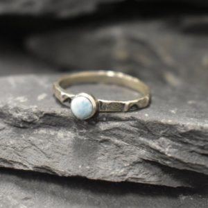 Shop Larimar Rings! Larimar Ring, Solitaire Ring, Dainty Ring, Stackable Ring, Blue Vintage Ring, Sky Blue Ring, Celtic Ring, Hammered Band, Solid Silver Ring | Natural genuine Larimar rings, simple unique handcrafted gemstone rings. #rings #jewelry #shopping #gift #handmade #fashion #style #affiliate #ad