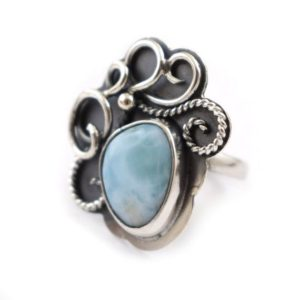 Shop Larimar Rings! Larimar Sterling Silver Ring, Retro Metalwork Statement Ring, Adjustable Ring | Natural genuine Larimar rings, simple unique handcrafted gemstone rings. #rings #jewelry #shopping #gift #handmade #fashion #style #affiliate #ad
