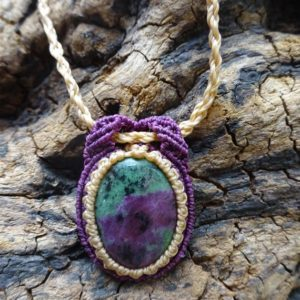 Shop Ruby Zoisite Jewelry! macrame necklace con ruby zoisite, ruby necklace, zoisite necklace, macrame pendant with natural stone, ruby zoisite pendant, ruby, zoisite | Natural genuine Ruby Zoisite jewelry. Buy crystal jewelry, handmade handcrafted artisan jewelry for women.  Unique handmade gift ideas. #jewelry #beadedjewelry #beadedjewelry #gift #shopping #handmadejewelry #fashion #style #product #jewelry #affiliate #ad