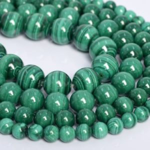 Shop Malachite Round Beads! Genuine Natural Green Malachite Loose Beads Grade AAA Round Shape 6mm 8mm 9-10mm | Natural genuine round Malachite beads for beading and jewelry making.  #jewelry #beads #beadedjewelry #diyjewelry #jewelrymaking #beadstore #beading #affiliate #ad