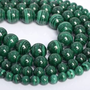 Shop Malachite Round Beads! Genuine Natural Green Malachite Loose Beads Grade AAA Round Shape 6mm 8mm 9mm 12mm | Natural genuine round Malachite beads for beading and jewelry making.  #jewelry #beads #beadedjewelry #diyjewelry #jewelrymaking #beadstore #beading #affiliate #ad