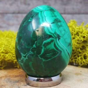 Shop Malachite Shapes! Malachite Crystal Egg –  1260.145 | Natural genuine stones & crystals in various shapes & sizes. Buy raw cut, tumbled, or polished gemstones for making jewelry or crystal healing energy vibration raising reiki stones. #crystals #gemstones #crystalhealing #crystalsandgemstones #energyhealing #affiliate #ad