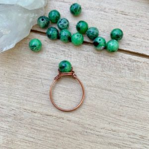 Shop Ruby Zoisite Jewelry! Mini Green Ruby Zoisite Ring, Green Gemstone Bead Ring, Crystal Rings, Wire Wrapped Ring, Fuschite Wire Wrap, Green Gemstone | Natural genuine Ruby Zoisite jewelry. Buy crystal jewelry, handmade handcrafted artisan jewelry for women.  Unique handmade gift ideas. #jewelry #beadedjewelry #beadedjewelry #gift #shopping #handmadejewelry #fashion #style #product #jewelry #affiliate #ad