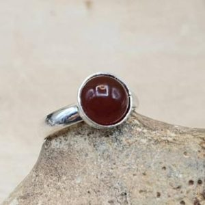 Shop Carnelian Rings! Minimalist Carnelian ring. 925 sterling silver rings for women. Reiki jewelry uk. Red July birthstone. 17th anniversary. Adjustable ring | Natural genuine Carnelian rings, simple unique handcrafted gemstone rings. #rings #jewelry #shopping #gift #handmade #fashion #style #affiliate #ad