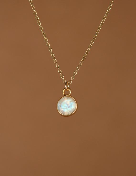 Moonstone Necklace - Gold Moonstone - June Birthstone - Tiny Moonstone - A 14k Gold Vermeil Bezel Set Moonstone On A 14k Gold Filled Chain