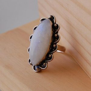 Shop Rainbow Moonstone Rings! Rainbow Moonstone Ring, Moonstone Jewelry, Goddess Energy, Moon Magic Ring, Ring Size 9, Ring Size R, Anniversary Gifts, Rainbow Moonstone | Natural genuine Rainbow Moonstone rings, simple unique handcrafted gemstone rings. #rings #jewelry #shopping #gift #handmade #fashion #style #affiliate #ad
