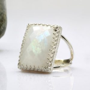 sterling silver ring,moonstone ring,bridal ring,rectangle silver ring,precious ring,birthday gift,holiday gift,love | Natural genuine Gemstone rings, simple unique alternative gemstone engagement rings. #rings #jewelry #bridal #wedding #jewelryaccessories #engagementrings #weddingideas #affiliate #ad