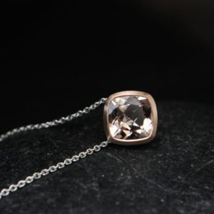 Shop Morganite Pendants! Morganite Cushion Cut Necklace In Rose Gold – Peach Gem Pendant In Rose Gold | Natural genuine Morganite pendants. Buy crystal jewelry, handmade handcrafted artisan jewelry for women.  Unique handmade gift ideas. #jewelry #beadedpendants #beadedjewelry #gift #shopping #handmadejewelry #fashion #style #product #pendants #affiliate #ad