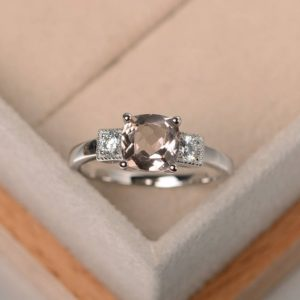 Natural Pink Morganite Ring, promise Ring , cushion Cut, real Gemstone Ring, sterling Silver Ring | Natural genuine Gemstone rings, simple unique handcrafted gemstone rings. #rings #jewelry #shopping #gift #handmade #fashion #style #affiliate #ad