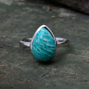 Shop Amazonite Rings! Natural Amazonite Ring-Blue Fire Amazonite Ring-Handmade Silver Ring-925 Sterling Silver-Gift For Her-Promise Ring-Anniversary Ring | Natural genuine Amazonite rings, simple unique handcrafted gemstone rings. #rings #jewelry #shopping #gift #handmade #fashion #style #affiliate #ad