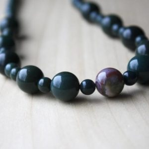 Shop Bloodstone Necklaces! Bloodstone Necklace for Men and Women . Natural Bloodstone Bead Necklace . Beaded Gemstone Necklace Gift for Wife or Husband | Natural genuine Bloodstone necklaces. Buy handcrafted artisan men's jewelry, gifts for men.  Unique handmade mens fashion accessories. #jewelry #beadednecklaces #beadedjewelry #shopping #gift #handmadejewelry #necklaces #affiliate #ad