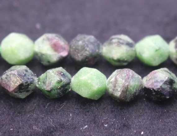 """Natural Faceted Ruby Zoisite Nugget Beads,ruby Zoisite Beads,6mm 8mm 10mm Star Cut Faceted Beads,one Strand 15"""""""