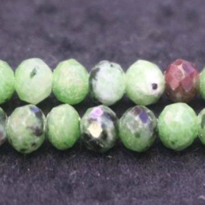 Shop Ruby Zoisite Faceted Beads! Natural Faceted Ruby Zoisite Rondelle Beads,Ruby Zoisite Beads,2x3mm 4x5mm Faceted Ruby Zoisite Rondelle beads,one strand 15"
