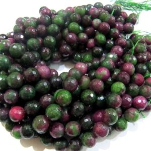 Shop Ruby Zoisite Faceted Beads! ON SALE Natural Genuine Ruby Zoisite Round Faceted Beads Size 12mm Size Strand 8 inches Far Size top quality Gemstone Beads Jewelry Making B | Natural genuine faceted Ruby Zoisite beads for beading and jewelry making.  #jewelry #beads #beadedjewelry #diyjewelry #jewelrymaking #beadstore #beading #affiliate #ad