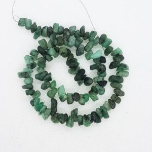 Shop Emerald Chip & Nugget Beads! Natural Green Emerald Tumbled Rough Gemstone, Sided Drilled, 13 inch, Wholesale Green Emerald Semi Precious Tumbled Rough Beads Supplier | Natural genuine chip Emerald beads for beading and jewelry making.  #jewelry #beads #beadedjewelry #diyjewelry #jewelrymaking #beadstore #beading #affiliate #ad