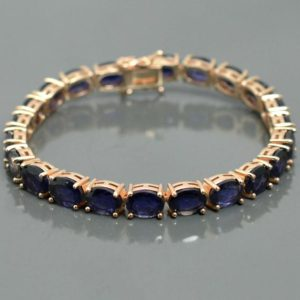 Shop Iolite Bracelets! Natural Iolite Bracelet, Blue Oval Cut Iolite, 925 Silver Bracelet, Iolite Jewelry, Tennis Bracelet, Rose Gold Plating, December Birthstone | Natural genuine Iolite bracelets. Buy crystal jewelry, handmade handcrafted artisan jewelry for women.  Unique handmade gift ideas. #jewelry #beadedbracelets #beadedjewelry #gift #shopping #handmadejewelry #fashion #style #product #bracelets #affiliate #ad