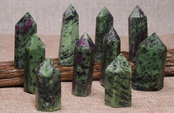 Natural Ruby In Zoisite Quartz Tower,ruby In Zoisite Crystal Quartz Point,healing Stone,obelisk Point,crystal Grids,energy Balancing,reiki