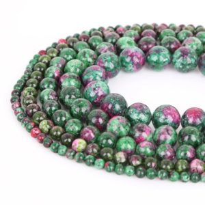 "Shop Ruby Zoisite Round Beads! Natural Ruby Zoisite Beads – 4mm 6mm 8mm 10mm 12mm – Round Smooth Ruby Zoisite Gemstone – 15"" Full Strand – Wholesale Beads – Wholesale Gems 