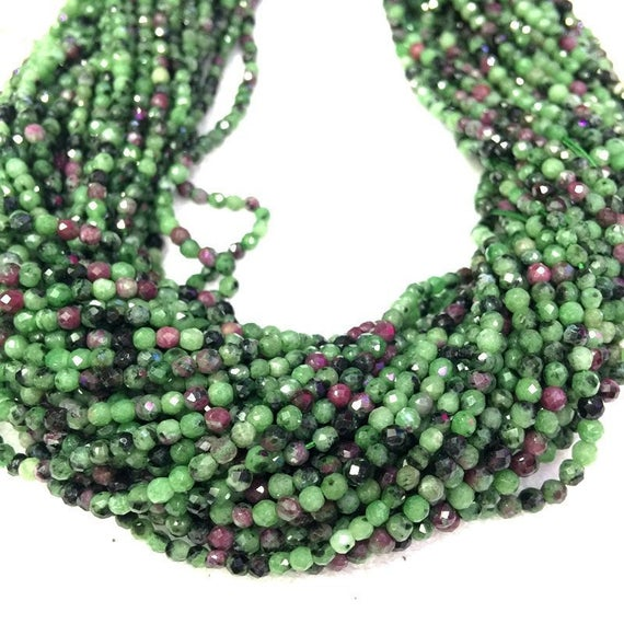 Natural Ruby Zoisite Beads Micro Faceted 2mm 3mm 4mm Genuine Tiny Ruby Zoisite Beads Red Greeen Gemstone Beads Small Ruby Zoisite Bead