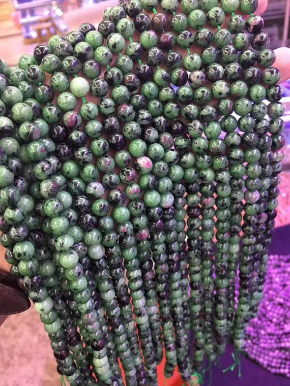 Natural Ruby Zoisite Beads,15 Inches Per Strand,4mm 6mm 8mm 10mm 12mm Epidote Smooth Round Beads Wholesale Supply,diy Beads