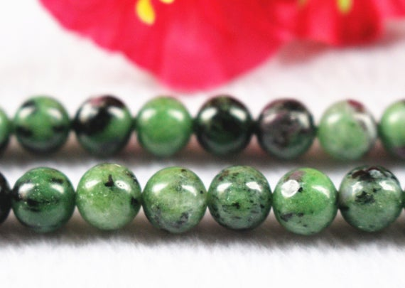 "Natural Ruby Zoisite Round Beads,6mm 8mm 10mm 12mm Ruby Zoisite Beads,ruby Zoisite Beads Supply,15"" Strand"