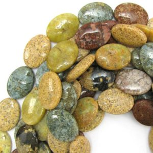 "30mm natural ocean jasper flat oval beads 15.5"" strand 12865 