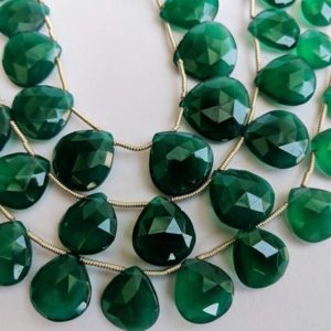 Shop Onyx Bead Shapes! 9-15mm Green Onyx Faceted Heart Beads, Natural Green Onyx Heart Briolettes, Emerald Green Onyx, Green Onyx Necklace (7.5IN To 15 IN Options) | Natural genuine other-shape Onyx beads for beading and jewelry making.  #jewelry #beads #beadedjewelry #diyjewelry #jewelrymaking #beadstore #beading #affiliate #ad