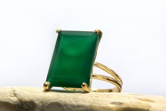 Gold Rectangle Ring · Custom Size Ring · Green Onyx Ring · Birthstone Rings · Cocktail Ring · Bouble Band Ring · Vintage Ring