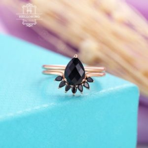 Shop Onyx Jewelry! Pear shaped Black onyx engagement ring, black onyx wedding band, rose gold Women Matching Stacking Unique Jewelry Anniversary gift for her | Natural genuine Onyx jewelry. Buy handcrafted artisan wedding jewelry.  Unique handmade bridal jewelry gift ideas. #jewelry #beadedjewelry #gift #crystaljewelry #shopping #handmadejewelry #wedding #bridal #jewelry #affiliate #ad