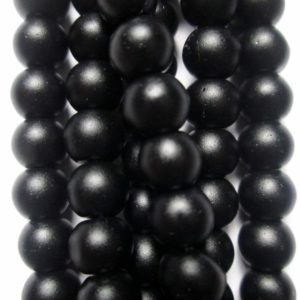 "Shop Onyx Beads! Genuine Matte Black Onyx Beads – Round 6 mm Gemstone Beads – Full Strand 16"", 64 beads, AA Quality 