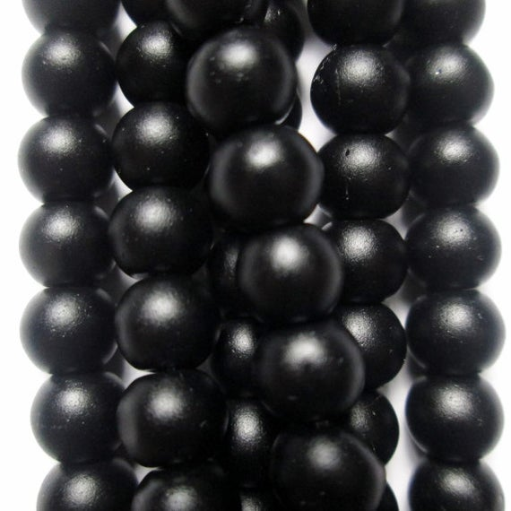 "Genuine Matte Black Onyx Beads - Round 6 Mm Gemstone Beads - Full Strand 16"", 63 Beads, Aa Quality"