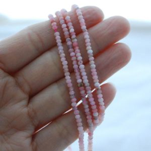 """Shop Opal Faceted Beads! Grade A Natural Pink Peruvian Opal Semi-precious Gemstone Faceted Rondelle Spacer Beads – Approx 2.5mm X 1.5mm – 15.5"""" Strand   Natural genuine faceted Opal beads for beading and jewelry making.  #jewelry #beads #beadedjewelry #diyjewelry #jewelrymaking #beadstore #beading #affiliate #ad"""