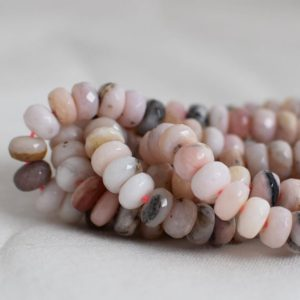 """Shop Opal Faceted Beads! Grade A Natural Pink Peruvian Opal (pink) Semi-precious Gemstone Faceted Rondelle Spacer Beads – 8mm X 6mm – 15.5"""" Strand   Natural genuine faceted Opal beads for beading and jewelry making.  #jewelry #beads #beadedjewelry #diyjewelry #jewelrymaking #beadstore #beading #affiliate #ad"""