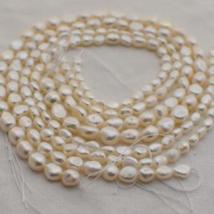 "High Quality Grade A Natural Freshwater Baroque Pearl Pebble Nugget Beads – White  – 14"" long 