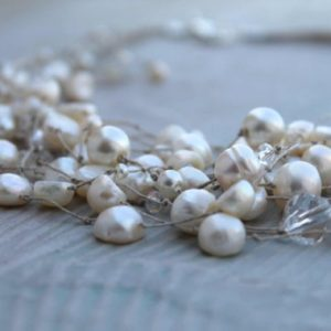 Shop Pearl Necklaces! Wedding Jewelry Bridal Pearl Necklace / Bridesmaid Necklace /  Floating Necklace / Illusion Necklace/ Genuine Pearl Necklace / White Cream | Natural genuine Pearl necklaces. Buy handcrafted artisan wedding jewelry.  Unique handmade bridal jewelry gift ideas. #jewelry #beadednecklaces #gift #crystaljewelry #shopping #handmadejewelry #wedding #bridal #necklaces #affiliate #ad
