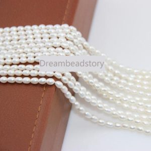 Pearl Rice Beads, Natural Cultured 3-4mm Natural White Freshwater Pearl Loose Oval Beads For Jewerlry Making | Natural genuine other-shape Gemstone beads for beading and jewelry making.  #jewelry #beads #beadedjewelry #diyjewelry #jewelrymaking #beadstore #beading #affiliate #ad