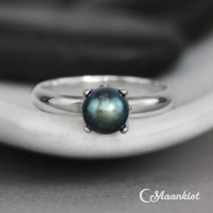 Shop Pearl Rings! Black Pearl Engagement Ring, Sterling Silver Pearl Bridal Ring, Contemporary Pearl Ring, Simple Pearl Promise Ring | Moonkist Designs | Natural genuine Pearl rings, simple unique alternative gemstone engagement rings. #rings #jewelry #bridal #wedding #jewelryaccessories #engagementrings #weddingideas #affiliate #ad