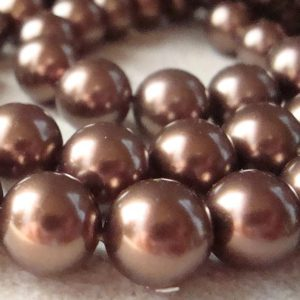 Shell Pearl Beads 10mm Lustrous Carmel Brown Smooth Rounds  – 6 Pieces | Natural genuine beads Gemstone beads for beading and jewelry making.  #jewelry #beads #beadedjewelry #diyjewelry #jewelrymaking #beadstore #beading #affiliate #ad