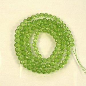 """Shop Peridot Faceted Beads! Peridot faceted round  beads AA+ 5-6mm 20.5"""" strand 