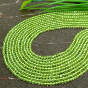 Shop Peridot Faceted Beads! WHOLESALE! Natural Peridot 2-2.5mm Micro Faceted Rondelle Gemstone Beads / Approx 200 pieces on 14 Inch long strand / JBC-ET-147513 | Natural genuine faceted Peridot beads for beading and jewelry making.  #jewelry #beads #beadedjewelry #diyjewelry #jewelrymaking #beadstore #beading #affiliate #ad