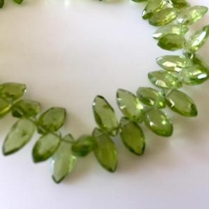 Shop Peridot Bead Shapes! Natural Peridot Marquise Briolette Beads, Faceted Peridot beads, 5x9mm To 5x10mm Each, 8 Inch Strand, GDS809 | Natural genuine other-shape Peridot beads for beading and jewelry making.  #jewelry #beads #beadedjewelry #diyjewelry #jewelrymaking #beadstore #beading #affiliate #ad