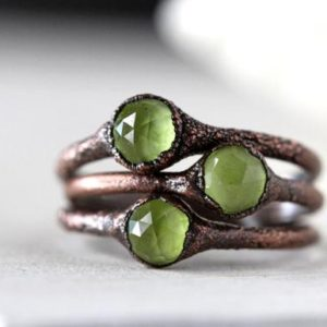 Shop Peridot Rings! Peridot Ring – Peridot Stacking Ring – Faceted Stone Ring – August Birthstone | Natural genuine Peridot rings, simple unique handcrafted gemstone rings. #rings #jewelry #shopping #gift #handmade #fashion #style #affiliate #ad