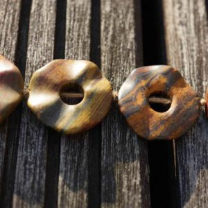Shop Picture Jasper Beads! Handmade Matte Australian Picture Jasper 24-29mm abstract donut beads (ETB00297) | Natural genuine beads Picture Jasper beads for beading and jewelry making.  #jewelry #beads #beadedjewelry #diyjewelry #jewelrymaking #beadstore #beading #affiliate #ad