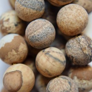 "Shop Picture Jasper Beads! Natural Matte Sand Jasper Beads, Picture Jasper Bead – Round 10 mm Gemstone Beads – Full Strand 15 1/2"", 37 beads, A Quality 
