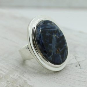 Shop Pietersite Rings! Pietersite blue stone ring, natural pietersite stone jewelry, big pietersite stone rings,silver and stone rings,statement rings,stone rings | Natural genuine Pietersite rings, simple unique handcrafted gemstone rings. #rings #jewelry #shopping #gift #handmade #fashion #style #affiliate #ad