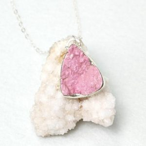 Shop Pink Calcite Jewelry! Pink Cobalto Calcite Necklace, Bezel Set Pink Cobalto Calcite Pendant, Raw Gemstone Necklace, Healing Crystal Jewelry, 925 Silver Necklace | Natural genuine Pink Calcite necklaces. Buy crystal jewelry, handmade handcrafted artisan jewelry for women.  Unique handmade gift ideas. #jewelry #beadednecklaces #beadedjewelry #gift #shopping #handmadejewelry #fashion #style #product #necklaces #affiliate #ad