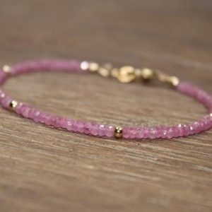 Pink Sapphire Bracelet, Pink Sapphire Jewelry, September Birthstone, Gold Filled, Sterling Silver or Rose Gold Filled Beads | Natural genuine Pink Sapphire jewelry. Buy crystal jewelry, handmade handcrafted artisan jewelry for women.  Unique handmade gift ideas. #jewelry #beadedjewelry #beadedjewelry #gift #shopping #handmadejewelry #fashion #style #product #jewelry #affiliate #ad