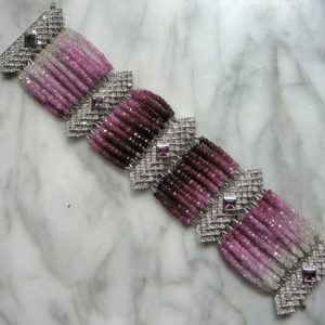 SOLD. NOT for SALE:Ruby Gemstone Jewelry, Pink Sapphire Bracelet, Ombre Gemstone, Deco Style Bracelet | Natural genuine Gemstone bracelets. Buy crystal jewelry, handmade handcrafted artisan jewelry for women.  Unique handmade gift ideas. #jewelry #beadedbracelets #beadedjewelry #gift #shopping #handmadejewelry #fashion #style #product #bracelets #affiliate #ad