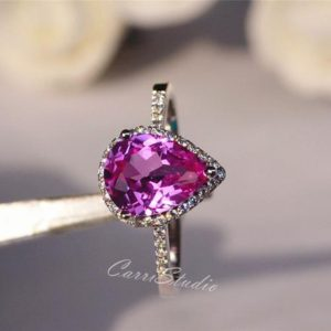 Shop Unique Engagement Rings Under $100! Pear Lab Sapphire Ring Pink Sapphire Engagement Ring Wedding Ring Anniversary Ring Silver Gemstone Ring | Natural genuine Amethyst rings, simple unique alternative gemstone engagement rings. #rings #jewelry #bridal #wedding #jewelryaccessories #engagementrings #weddingideas #affiliate #ad